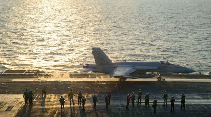 An F/A-18E Super Hornet assigned to the Gunslingers of Strike Fighter Squadron (VFA) 105 launches from the flight deck of the aircraft carrier USS Dwight D. Eisenhower (CVN 69) (Ike). Ike and its Carrier Strike Group are deployed in support of Operation Inherent Resolve, maritime security operations and theater security cooperation efforts in the U.S. 5th Fleet area of operations. (U.S. Navy photo by Petty Officer 3rd Class Nathan T. Beard)