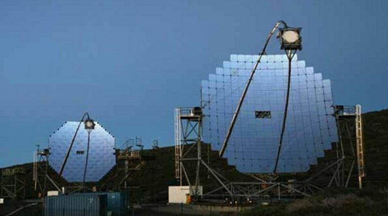 The MAGIC telescopes on the canary island of La Palma are shown. Credit Robert Wagner