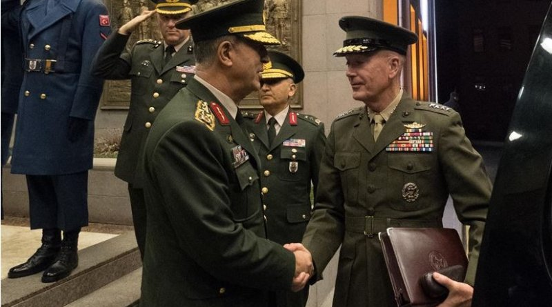 Army Gen. Hulusi Akar, the chief of the Turkish General Staff, bids farewell to Marine Corps Gen. Joe Dunford, right, following meetings Nov. 6, 2016, at the General Staff headquarters in Ankara, Turkey. DoD Photo by D. Myles Cullen