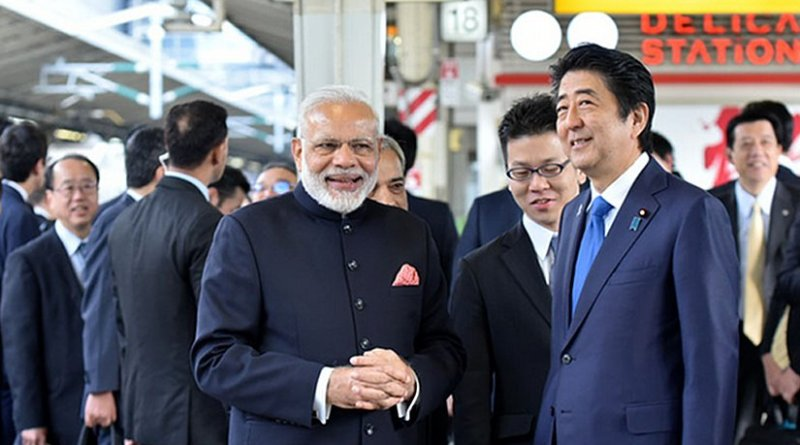 India's Prime Minister Narendra Modi and the Prime Minister of Japan, Mr. Shinzo Abe at Tokyo Station to board the Shinkansen bullet train to Kobe, in Japan on November 12, 2016. Photo Credit: India PM Office