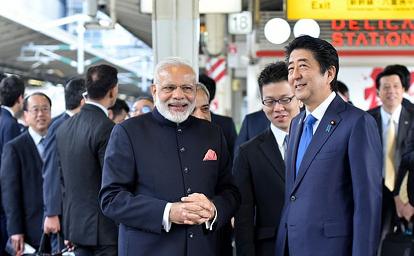 India's Prime Minister Narendra Modi and the Prime Minister of Japan, Mr. Shinzo Abe at Tokyo Station to board the Shinkansen bullet train to Kobe, in Japan on November 12, 2016. Photo Credit: India PM Office