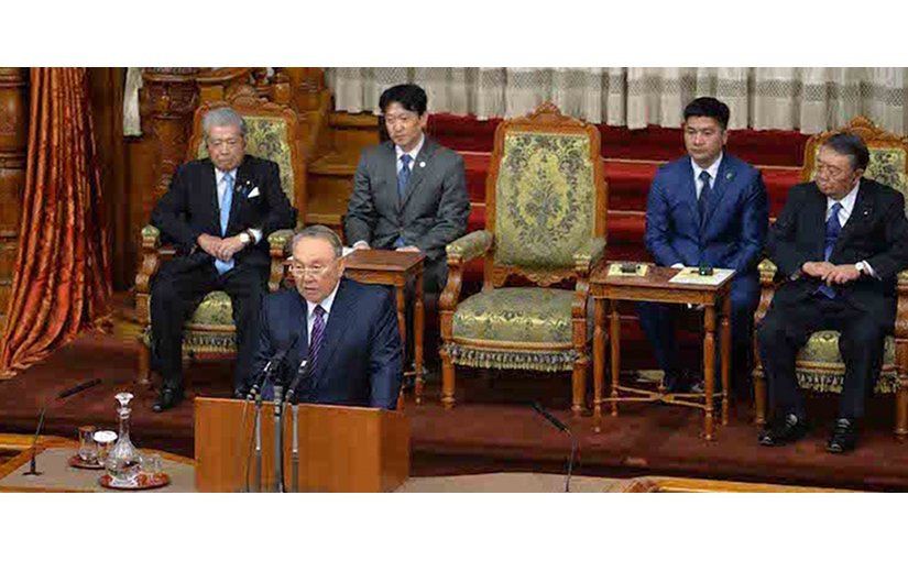 Kazakh President Nazarbayev addressing Japan's Parliament. Credit: Official Site of the President of the Republic of Kazakhstan.