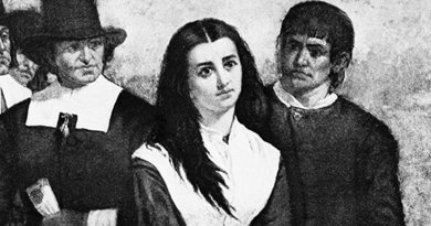 "An accused ""witch"" during the witch trials in the late 1600s. Credit: Jessolsen, Wikipedia Commons."