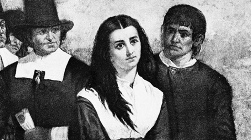 """An accused """"witch"""" during the witch trials in the late 1600s. Credit: Jessolsen, Wikipedia Commons."""