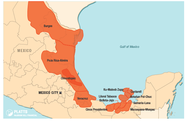Figure 4. Mexico's oil and natural gas fields. Source: Bentek Energy a unit of Platts
