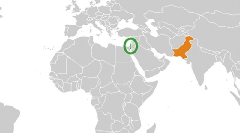 Locations of Israel (green) and Pakistan. Source: Wikipedia Commons.