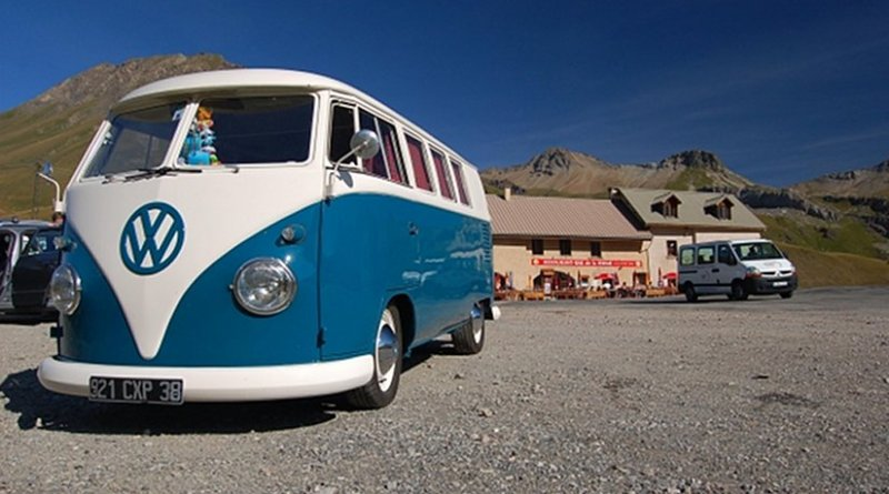 A classic Volkswagen van.