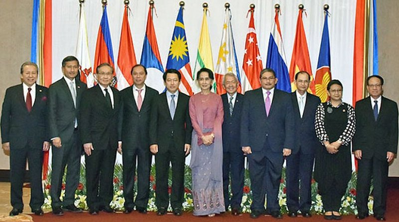 Myanmar State Counsellor and Foreign Affairs Minister Aung San Suu Kyi (centre) and foreign ministers from member states of the ASEAN pose for a group photo in Yangon, December 19, 2016. Photo courtesy of Indonesia's Ministry of Foreign Affairs