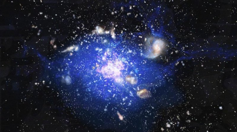 "Artist's impression of a cosmic ""ocean"" of cold gas, discovered at heart of an embryonic cluster of galaxies, some 10 billion light years away. The central region has been given the name ""Spiderweb"" though it was previously known as MRC 1138-262, because it seems to consist of tiny galaxies trapped by gravity, rather like flies in a spider's web. The cold gas, the matter from which new stars form, is spread across a quarter of a million light years, and it is expected that this cloud of cosmic gas will condense into a single ""supergalaxy."" Credit ESO/ M. Kornmesser."