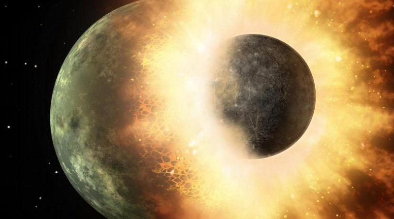 Artist's depiction of a collision between two planetary bodies. Credit NASA/JPL-Caltech