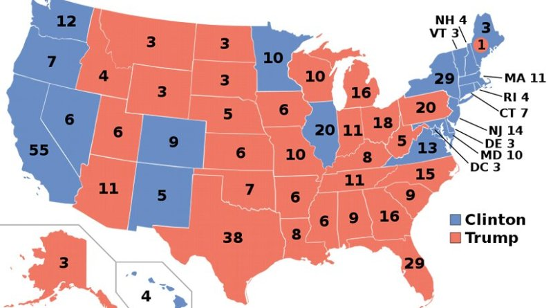 Map of the 2016 U.S. presidential election projections: