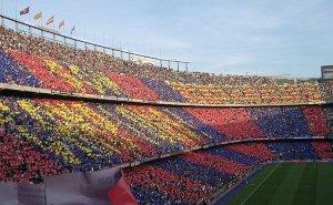 FC Barcelona's stadium Camp Nou. Photo by DJ Lucifer, Wikipedia Commons.