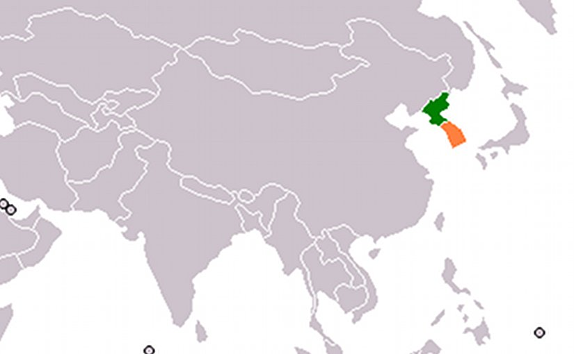 Locations of North Korea and South Korea; Source: Wikipedia Commons.