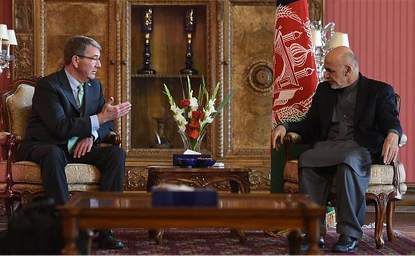 Defense Secretary Ash Carter meets with Afghan President Ashraf Ghani in Kabul, Afghanistan, Dec. 9, 2016. Carter's in Afghanistan to thank U.S. troops for their service to the nation and receive an update on NATO and U.S. efforts to support Afghan security forces. DoD photo