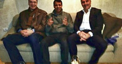 Mohammed Dahlan [centre] with Serbian PM, Aleksandar Vucic [left] and former Montenegrin PM Milo Djukanovic [right]. Photo: inlightpress