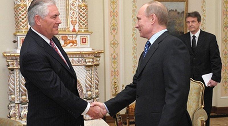 Rex Tillerson with Russia's Vladimir Putin. File photo: premier.gov.ru, Wikipedia Commons.