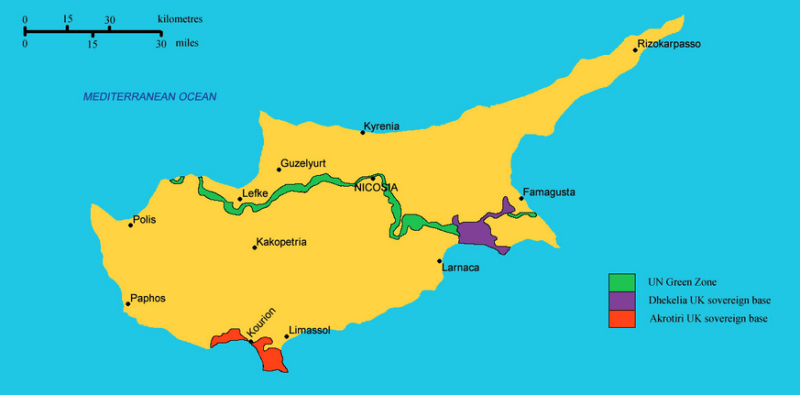 Partitioned Cyprus. Source: Wikipedia Commons.