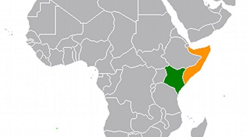 Locations of Kenya (green) and Somalia. Source: Wikipedia Commons.