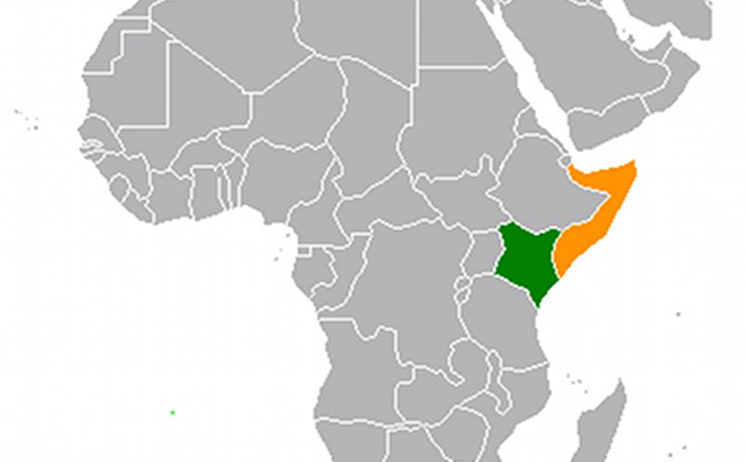 Locations of Kenya (green) and Somalia. Source: Wikipedia Commons.