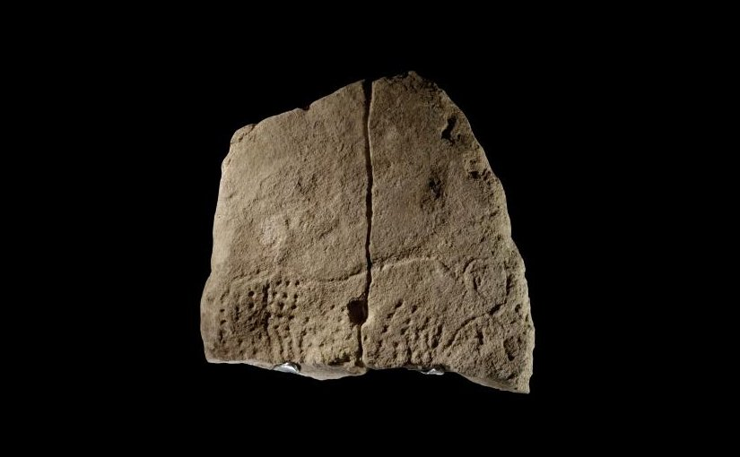 An international team of anthropologists has uncovered a 38,000-year-old engraved image, above, in a southwestern French rockshelter -- a finding that marks some of the earliest known graphic imagery found in Western Eurasia and offers insights into the nature of modern humans during this period. The limestone slab engraved with image of an aurochs, or extinct wild cow, was discovered at Abri Blanchard in 2012. Credit Musée national de Préhistoire collections - photo MNP - Ph. Jugie