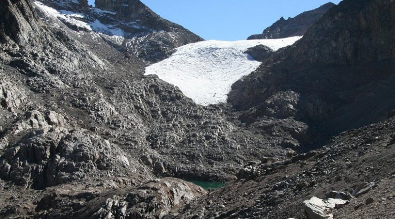 The Lewis glacier on Mt. Kenya has lost 90 percent over the last 75 years. New research suggests future warming on Mt. Kenya and other tropical peaks may happen much faster than climate models currently predict. Credit Hilde Eggermont