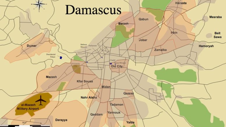 Location of Mezzeh Military Airport in Damascus, Syria, in brown at the bottom left. Map by MrPenguin20, Wikipedia Commons.