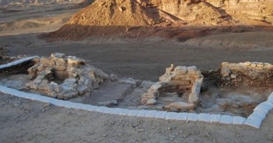 The entrance complex with a two-room gatehouse flanked by animal pens and piles of dung. Credit Erez Ben-Yosef et al.