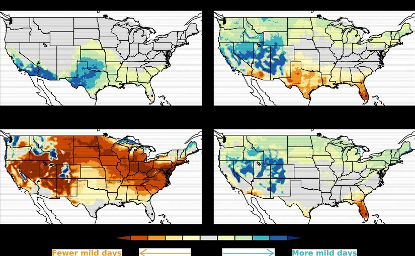 These four maps show that on average the number of mild weather days in the US will increase in winter, spring and fall and decline in the summer in the period from 2081-2100. Credit Karin Van der Wiel/ NOAA/ Princeton