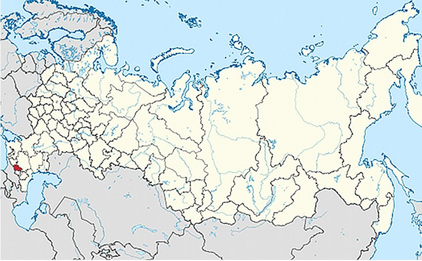 Location of Kabardino-Balkar Republic in Russia. Source: Wikipedia Commons.