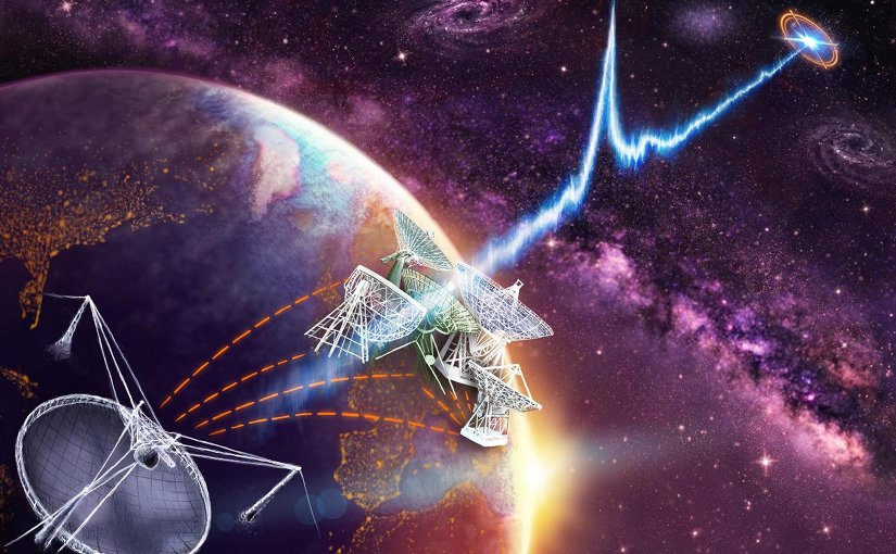The globally distributed dishes of the European VLBI Network are linked with each other and the 305-m William E. Gordon Telescope at the Arecibo Observatory in Puerto Rico. Together they have localized FRB121102's exact position within its host galaxy. Credit Credit:?Danielle?Futselaar?(www.artsource.nl)