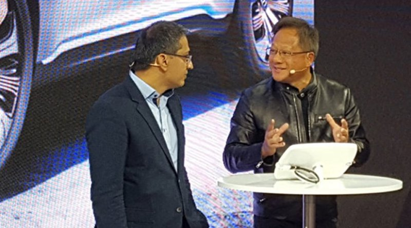 Mercedes-Benz Vice President of Digital Vehicle and Mobility, Sajjad Khan and NVIDIA founder and CEO Jen-Hsun Huang. Photo Credit: NVIDIA