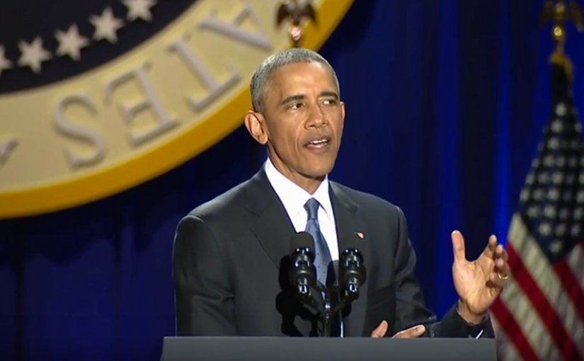 US President Barack Obama delivers farewell address january 10, 2017. Credit: Screenshot from White House video.