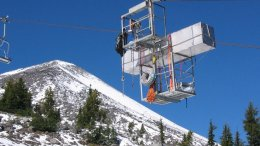 Researchers use the ski lifts to carry equipment to sample air on the summit. A radon sensor travels to the peak of Mount Bachelor. Credit Dan Jaffe/University of Washington Bothell