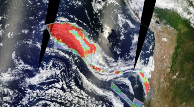 The smoke plume from the Chile wildfires as seen from space on 29 January 2017. The image uses the O3M SAF GOME-2 Absorbing Aerosol Index product, overlaid on imagery from the MODIS imager on NASA's Terrra satellite.