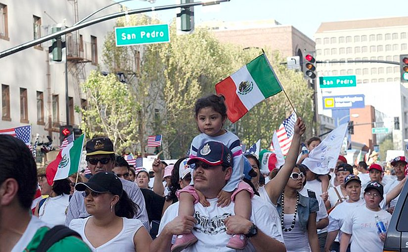 Mexican immigrants march for more rights in Northern California's largest city, San Jose. Photo by z2amiller, Wikipedia Commons.