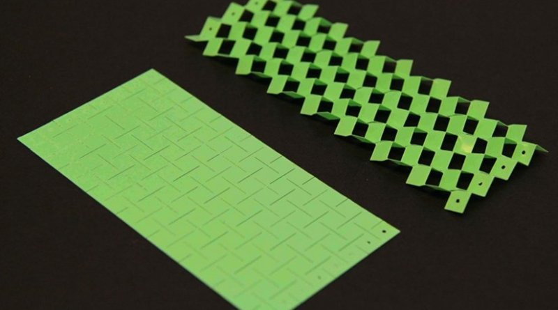 This kirigami-inspired material use cuts in materials to embed powerful functionality. (Image courtesy of Ahmad Rafsanjani/Harvard SEAS)