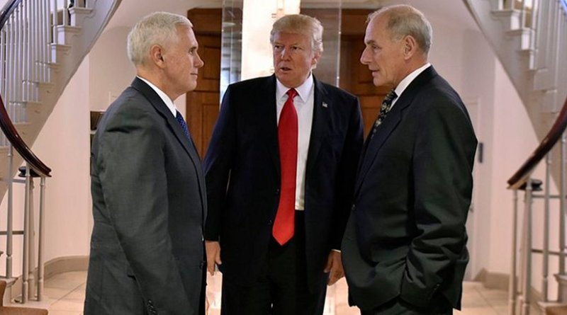 US President Donald Trump speaking with Vice President Mike Pence and Secretary of Homeland Security John F. Kelly. Photo Credit: U.S. Department of Homeland Security (DHS).