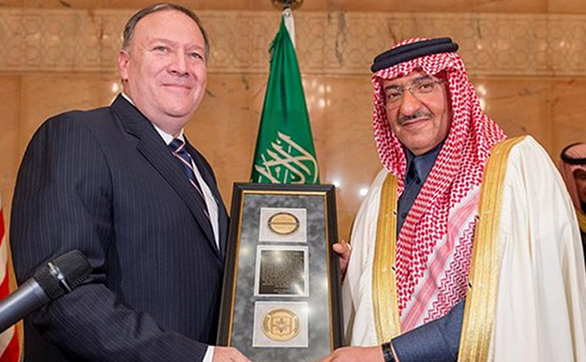 "Saudi Crown Prince Mohammed bin Naif, deputy premier and minister of interior, awarded CIA ""George Tenet"" medal by CIA Director Mike Pompeo. Photo Credit: SPA"