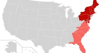 United States' east coast. Source: WIkipedia Commons.