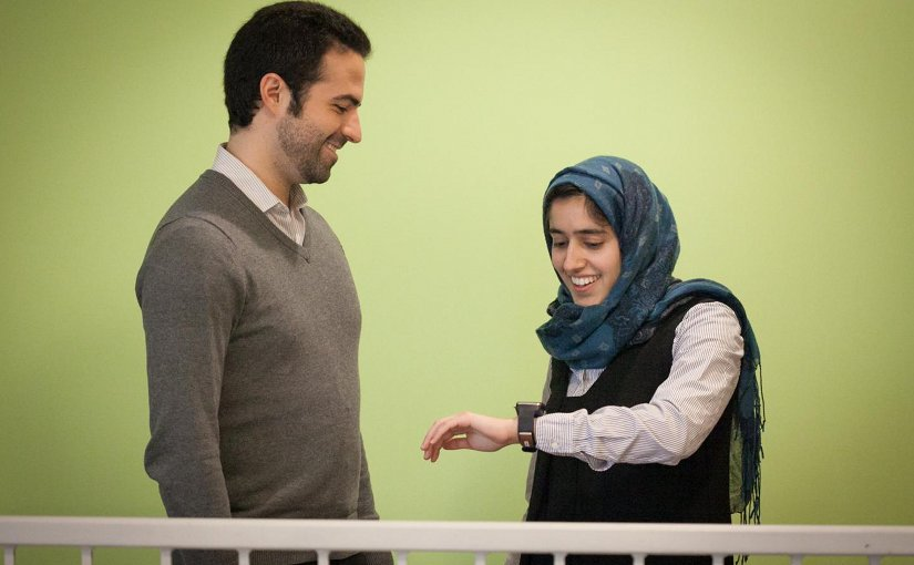 Mohammad Ghassemi and Tuka Alhanai converse with the wearable. Credit Jason Dorfman, MIT CSAIL