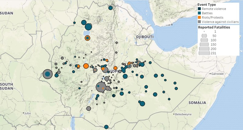 This map shows the number of reported fatalities in Ethiopia, November 2015 – October 2016. Image credit: Armed Conflict Location and Event Dataset.