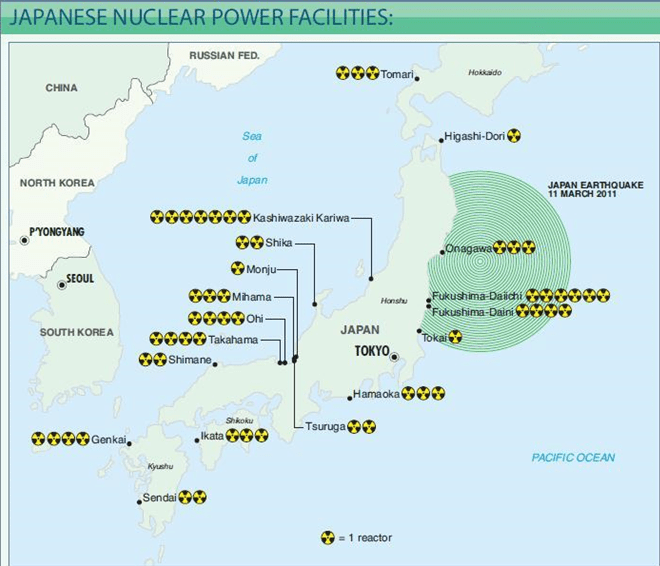 Figure 8. Japan's key nuclear power plants in relation to the Fukushima earthquake Source: Financial Times via Petroleum Economist.