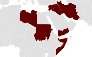 Map of countries affected by Executive Order 13769. Source: Wikipedia Commons.