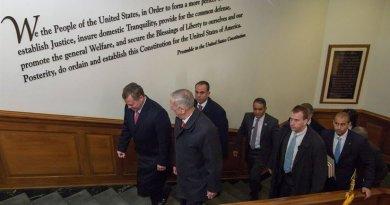 US Defense Secretary Jim Mattis, second from left, walks with Jordan's King Abdullah II, left, inside the Pentagon, Jan. 30, 2017. DoD photo by Air Force Staff Sgt. Jette Carr