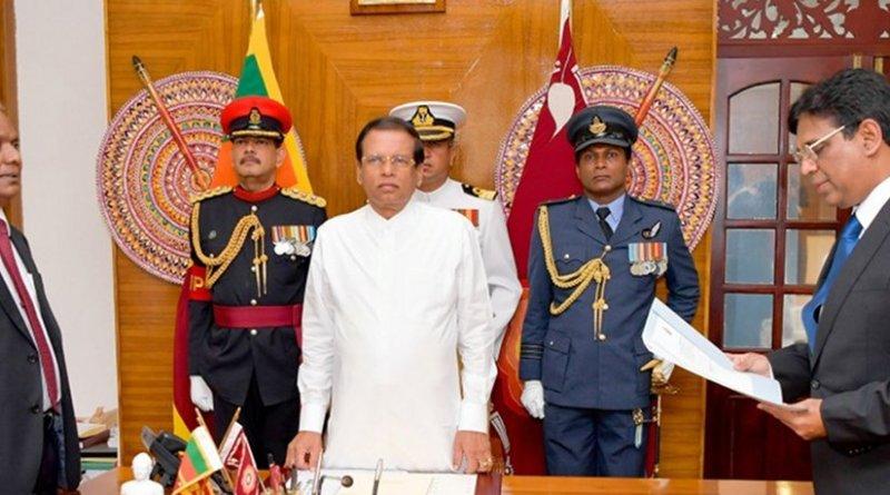 Sri Lanka's Justice Priyasad Depp sworn in as the new Chief Justice before President Maithripala Sirisena. Photo Credit: Sri Lanka President's Office.