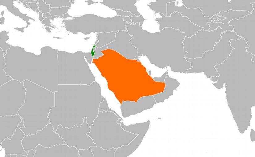 Locations of Israel and Saudi Arabia. Source: Wikipedia Commons.