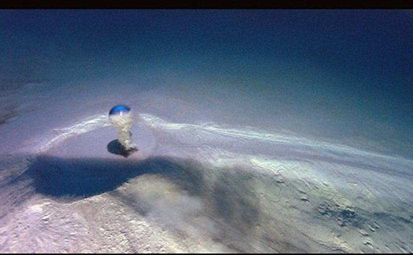 ubmarine mud volcano emitting water mixed with methane (NOAA, USA, public domain) [Credit: Sea Research Foundation (SRF) and Ocean Exploration Trust (OET)]