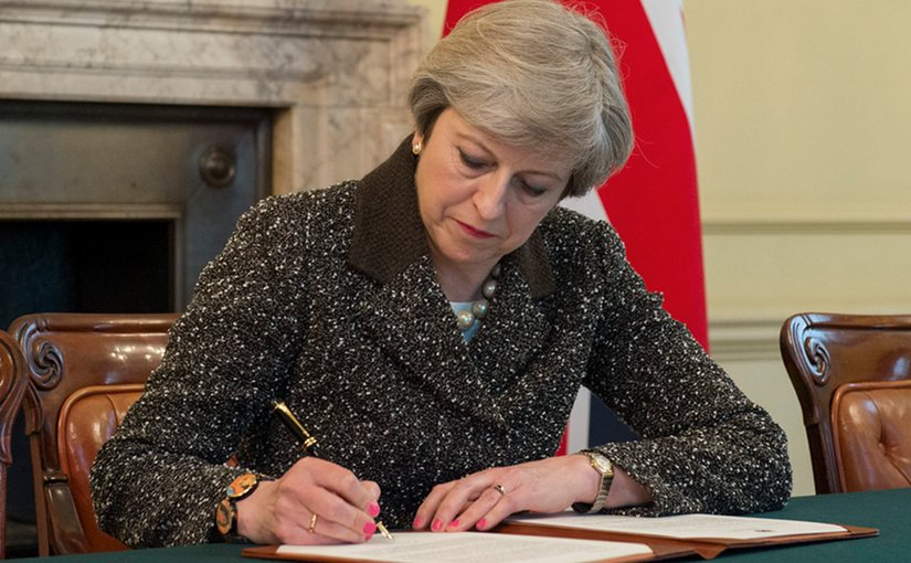 Theresa May, UK Prime Minister, signs Article 50 letter today. Photo: Jay Allen / Number 10 (Crown copyright, CC BY-NC-ND 2.0)