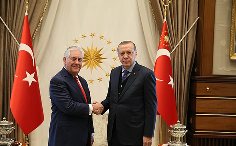 US Secretary of State Rex Tillerson meets with Turkey's President Recep Tayyip Erdogan at the Presidential Complex in Ankara, Turkey, on March 30, 2017. Photo Credit: US State Department