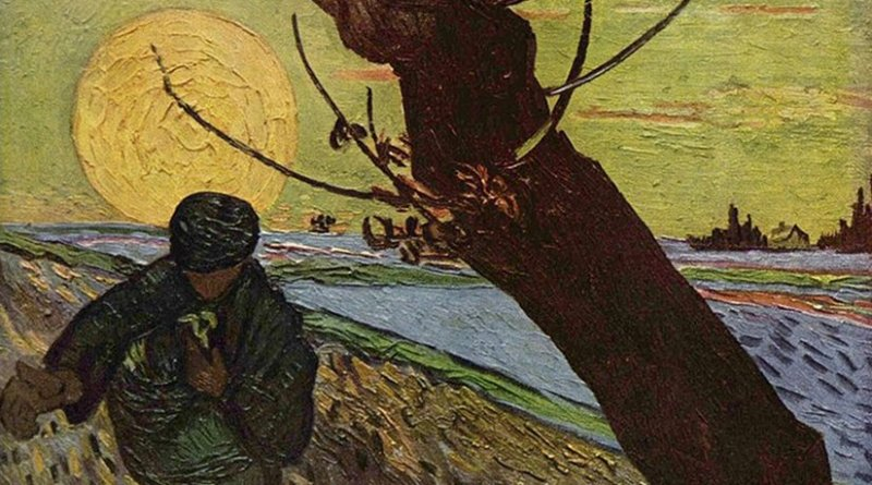 Vincent van Gogh: The Sower (after Millet), 1888. Source: Wikipedia Commons.